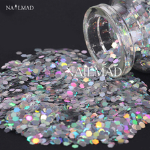 1 box 3mm Laser Nail Glitter Sequin Holographic Glitter Powder Silver Hexagon Nail Sparkle Nail Art Tips Decoration 3ml