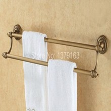 Bathroom Accessory Fitting Antique Brass Wall Mounted Bathroom Double Towel Bar Towel Rack Towel Rails Holder aba090