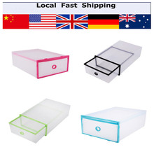 Double Storage Box Shoes Organizer Case Drawers Plastic Shoes Storage Shoe Box(China)