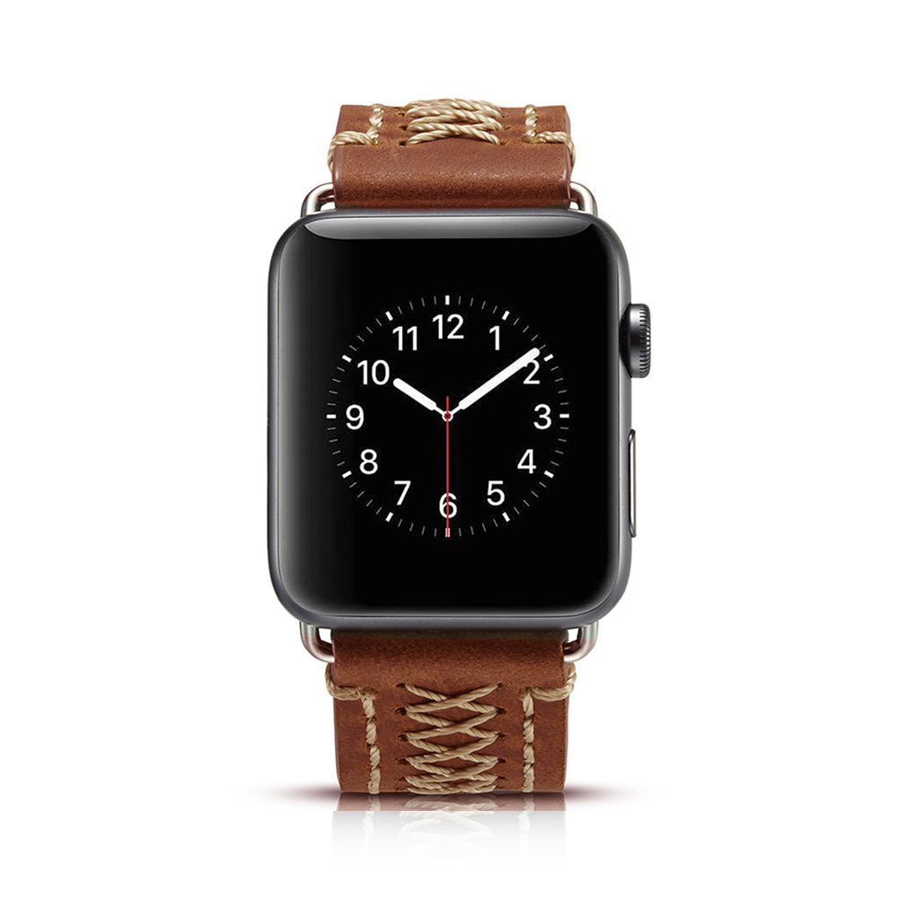 Vintage Handmade Genuine Leather Watch Band For Apple Watch Series 1 2 3 4 Strap Thread Bracelet 44Mm/ 40Mm/ 42Mm/ 38Mm Band