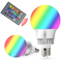 RGB E27 E14 5W/10W AC85-265V LED Bulb Lamp with Remote Control Multiple Colour LED Lighting Free Shipping