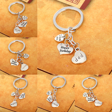 Family Dad Mom Sister Brother Grandma Grandpa Happy Birthday Key Chains Keyrings Keychain Heart Silver Women Men Accessories Bag