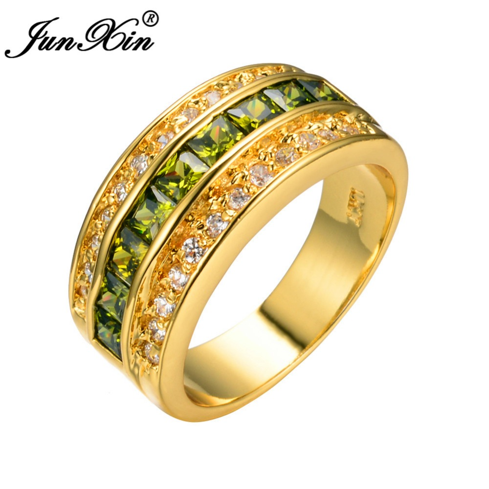 JUNXIN Men Women Blue Purple White Green Zircon Ring High Quality Yellow Gold Filled Jewelry Promise Engagement Rings For Couple(China (Mainland))