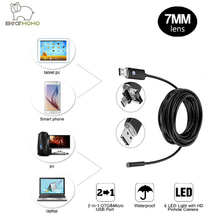 Video Endoscope Android PC 2IN1 HD 720P 7mm Lens 2.0MP Snake Tube Inspection Camera Car Endoscope USB Flexible Camera Waterproof(China)