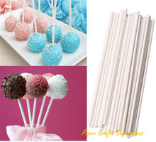 4inch Pack of 50 White Paper Cake Pop Lollipop Sticks Holiday Themed Candy Cookie Pops Food Flags Favors