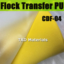 CDU-04 YELLOW Flock heat transfer PU VINYL For cutting plotter transfer flock PU vinyl for garments with size:50X100CM/LOT