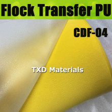 CDU-04 YELLOW Flock heat transfer PU VINYL For cutting plotter transfer flock PU vinyl for garments with size:50X100CM/LOT(China)