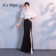 It s YiiYa Evening Dress 2019 White Black Patchwor Floor-length Zipper  Split Trumpet Formal Gowns XH014 robe de soiree e28386e91365