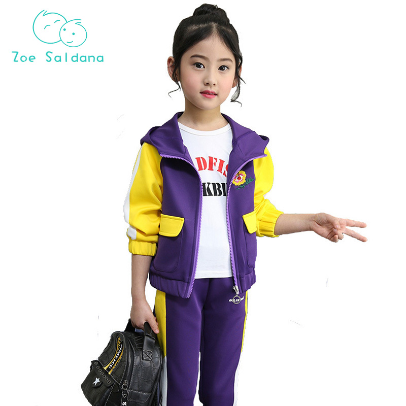 Zoe Saldana Spring 2018 Casual Active Embroidery Girls Clothes Children Sets Spell color Hooded Jacket+Pants 2ps Sports Suit<br>
