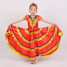 red black child spanish dance dresses flamenco dress costume for girls spain for children skirts cheap dress clothes shawl(China)