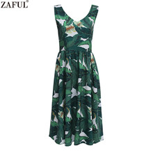 ZAFUL Brand New Women Green Banana Leaf Print 60s Vintage Dress V Neck Sleeveless Feminino Vestidos Party Dresses Natural Dress