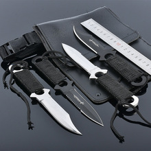 4pcs/lot Diving straight outdoor survival knife leggings small pocket set knife outdoor portable Knife tool with leather sheath