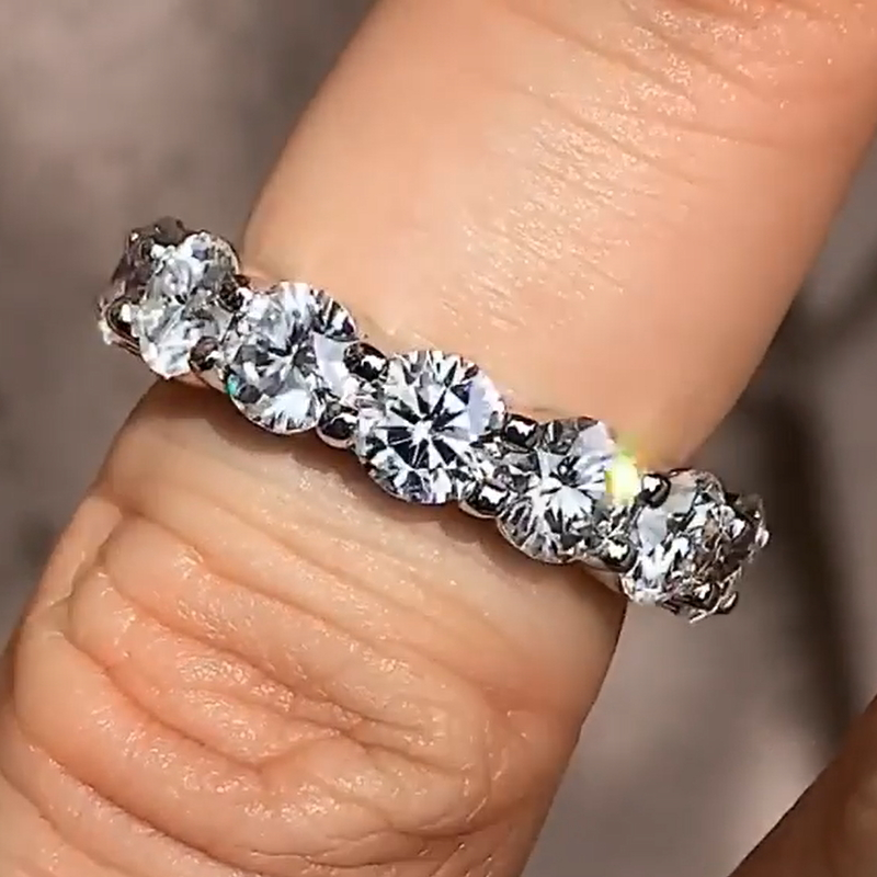 Heartbeat Eternity Ring Real 925 Sterling Silver Sataement Band Rings for Women Bridal Jewelry,6,Black Gold