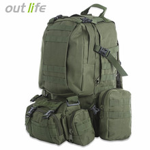 50L Multifunctional Outdoor Backpack Camping Climbing Hiking Backpacks Military Tactical Backpack Molle Bag Camouflage Sport Bag(China)