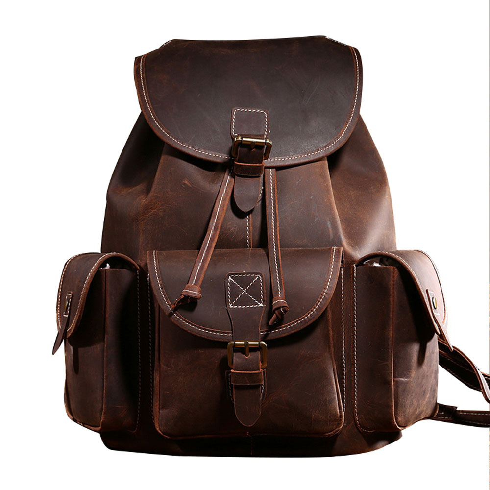 Vintage Style Women Leisure Travel Leather Backpack Large Capacity Daily Double Shoulder Bag  Men Fashion Rcksack<br><br>Aliexpress