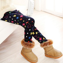 VEENIBEAR Newest Winter Girl Leggings Velvet Thicken Warm Star Print Girl Pants Kids Children Pants Winter Girl Clothing 2-9T