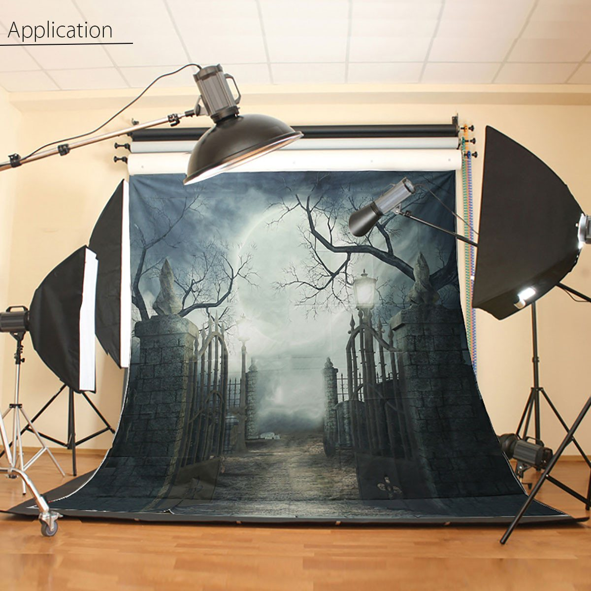 New Arrival 3x3m Vinyl Halloween Theme Moonlit Photography Background Photo Studio Backdrop<br>