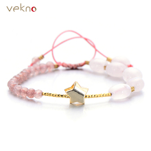 VEKNO  Real Pink Quartz Beads Bracelets Gold Color Star Charm Natural Stone Agates Bracelet For Women Fashion Handmade Pulseras