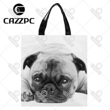 Black and White Poor Cute French Bulldog Pet Print Nylon Oxford Reusable Shopping Bag Gift Foldable Bag Eco Bag Pack of 2(China)