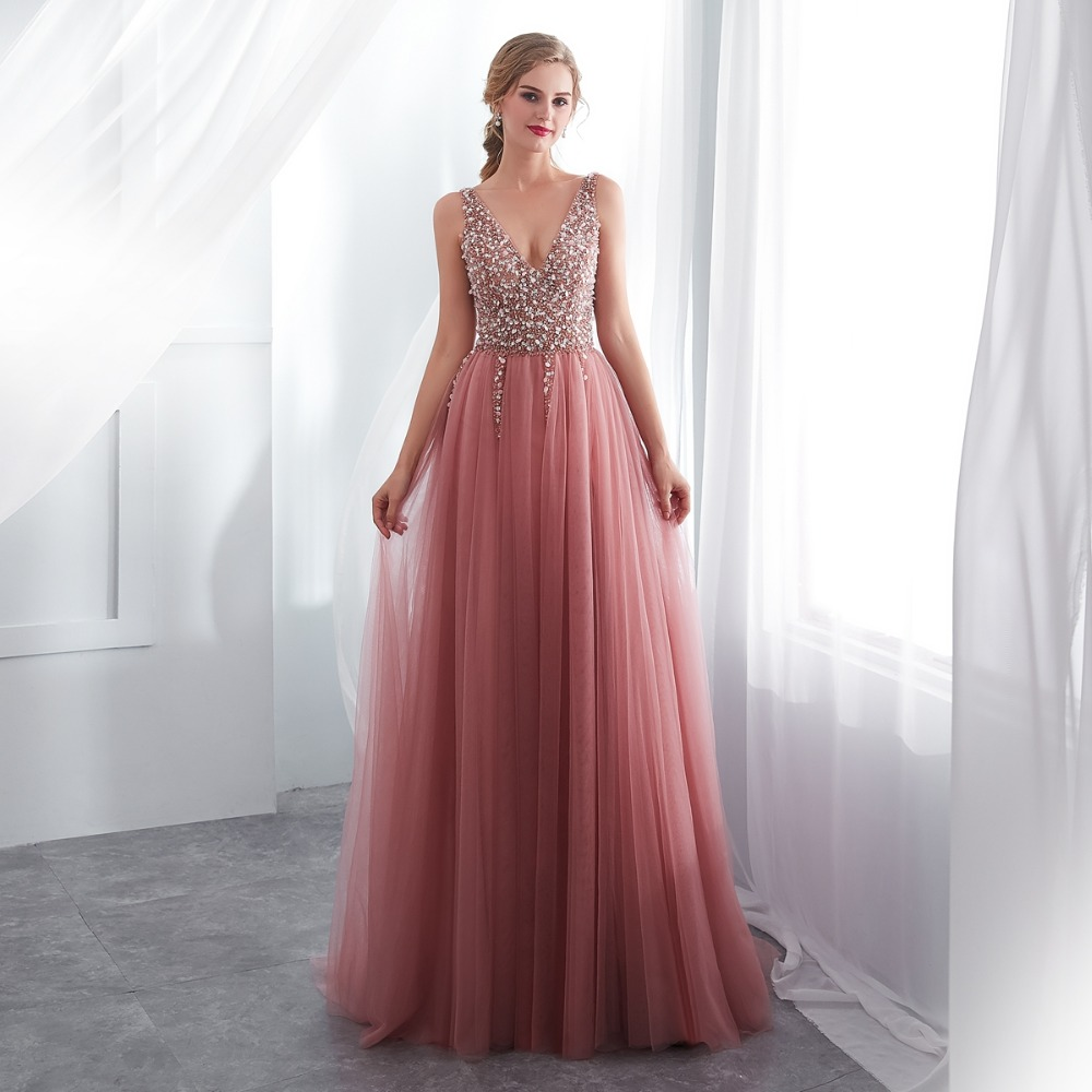 buy V neck Pink Beading Prom Dress Sleeveless Evening Gown