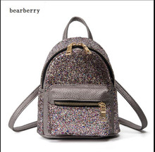BEARBERRY 2017 Women Mini Backpack PU Leather Sequins Backpack Children Girls Shoulder Bag Female Small Tote Backpack  MN161