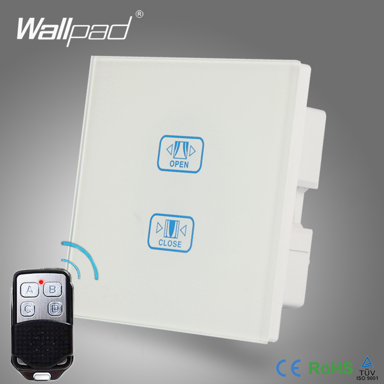 WIFI 2 Gang Curtain Switch Wallpad White Crystal Glass Broadlink Phone WIFI Remote Touch Curtain Window Control Wall Switch<br>