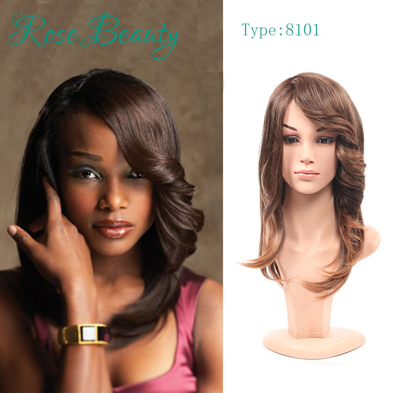 Charming medium Wavy Synthetic Wigs For Black Women Side Parting Ombre Color Wig Free Shipping Big Promotion Wholesale full wig<br><br>Aliexpress