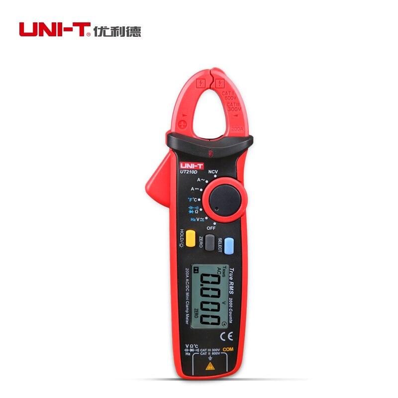 UNI-T UT210D Mini Digital Clamp Multimeter 200A Auto Range AC/DC Voltage Current Tester C/F Temperature Tester<br>