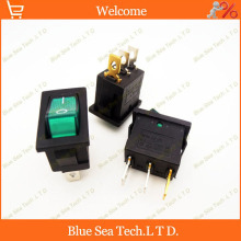 Sample,10 PCS 3 Pin LUMINATED Rocker Switch Green LED button switch for Power,car etc.10A/125VAC,6A /250VAC,21*15mm