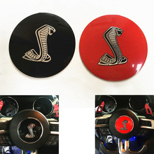 "3.35"" 3D Cobra Symbol Car Styling Auto Steering Wheel Center Decorative Badge Decal Sticker for Ford Mustang Shelby(China)"