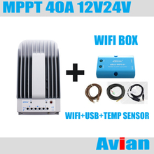 MPPT Epever Tracer4215BN 40A 12V/24 solar charge controller & eBox-WIFI and USB cable & temperature sensor(China)