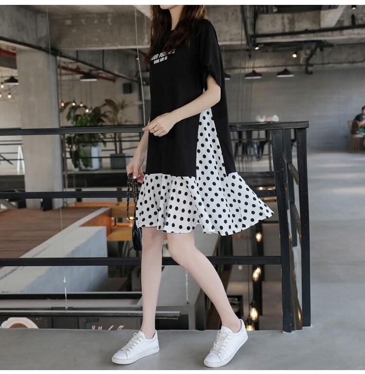 XL-5XL Plus Size Women Casual Dress Summer 2019 Short Sleeve Cotton Patchwork Chiffon Loose Casual Polka Dot Dresses 6 Online shopping Bangladesh