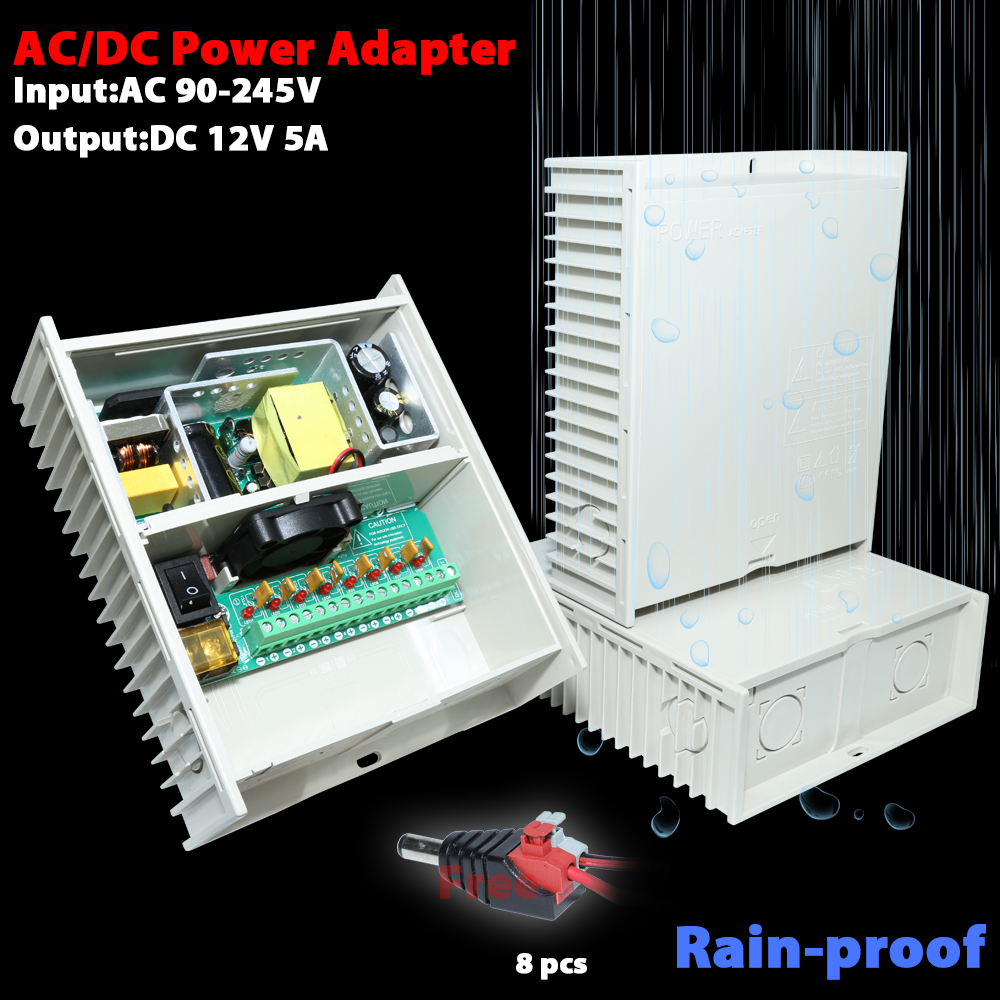 AC/DC power adapter DC12V 5A 8CH output<br>