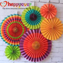 One Set Colorful Paper Fans Round Wheel Disc Birthday Kids Party Decoration Event Kindergarten Celebration Home Wall Decor(China)