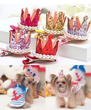 10pcs/lot dog bows clips Crown Design Pearls Rhinestone Doggie Boutique pet hair bows dog hair accessories grooming product Cute