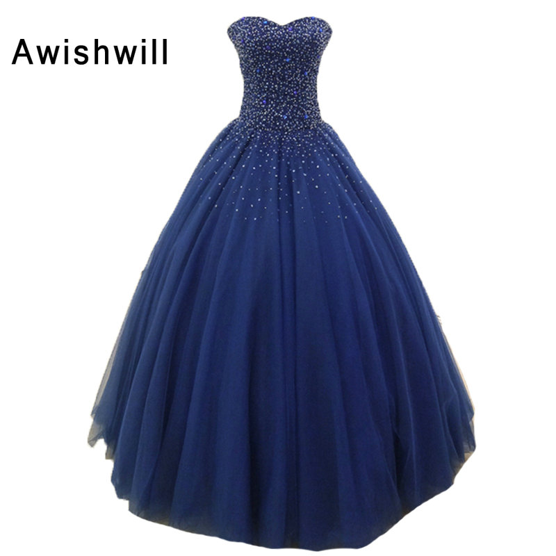 Custom Made Vestido Formatura Ball Gown Navy Blue Sweetheart Neckline Beading Tulle Sleeveless Pageant Gown Evening Prom Dresses