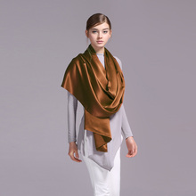 100% Silk Satin Long Scarf 55X180cm Pure Mulberry Silk Plain Color Silk Scarf Factory Direct Online Store 25 Chocolate Color(China)