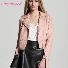 LUNDUNSHIJIA 2017 Autumn Women's Short Washed Plus Cashmere Leather Jacket Zipper White Ladies Basic Jackets Good Quality(China)