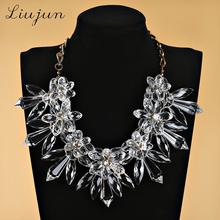 2017 liujun brand Luxury Gem Flower Crystal necklace Fashion Long Chunky Pendants Big Maxi Statement Collar Necklace For Women