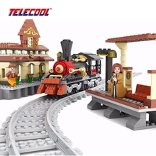 Train Station Model Building Blocks Train Bricks Blocks Kids Educational Toy Compatible with Lepin 462 Pieces With PVC BOX
