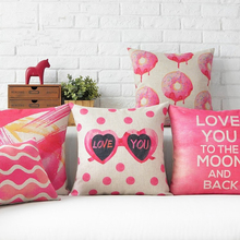 Pink Sweet Love Cushion Cover Cotton Linen Cushion Cover For Sofa Car Seat Pillowcase Throw Decoratice Pillow Case Home Sweet