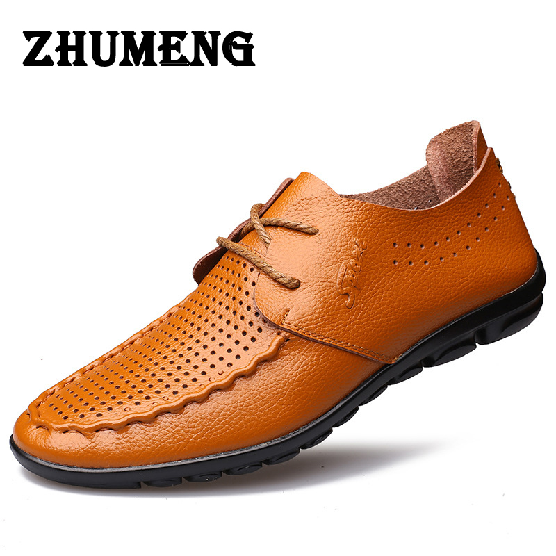 2017 Men Casual Shoes Mens Shoes Footwear Genuine Leather Walking Driving Soft Loafers Comfortable Brand Men Flats<br>