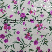 Printed Flowers on Crack Leather Leather Fabric for DIY P1349(China)
