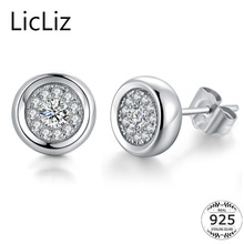 LicLiz Simple 925 Sterling Silver Stud Earrings For Women Micro Pave Cubic Zircon Earring Studs Ear Piercing Post Earing LE0288(China)