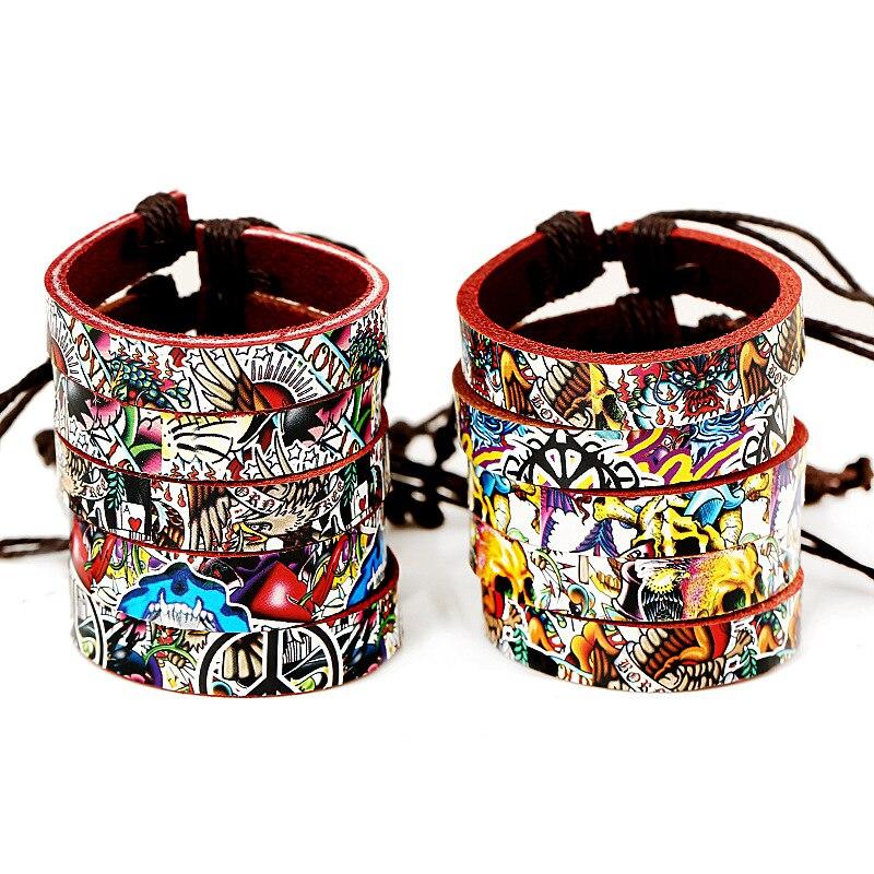 1 ШТ. Модные/Винтаж Weave Кожаный Браслет Pyrograph Цвет Браслет Личности Плетеный Кожаный Браслет и Браслеты(China (Mainland))