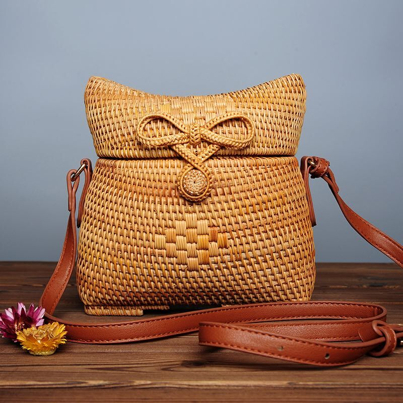Travel Beach Circle pu Leather Shoulder Bag Summer Straw Bag Sunflowe Knitted Rattan Bag Lady Handbag Crossbody Bag<br>