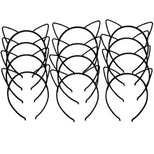 XIMA 12pcs/lot 2017 New Style Black Cat Ears Headband Cute ABS Plastic Girls Cat Ears Hairband Children Hair Accessories GHB026(China)