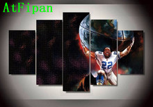 AtFipan 5P Dallas Cowboys 22 Footballer Emmitt Smith Oil Poster Home Decor Wall Picture For Living Room Unframed Canvas Painting(China)