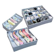3 pcs/Set Foldable Storage Bra Box Non-woven Folding Cases Necktie Socks Underwear Clothing Organizer Container(China)