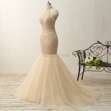 Beautiful Wedding Dress Real Pictures High neck Long Train Wedding Gowns Fully Pearls Bridal Gowns 2017 New Hot 0502-SML